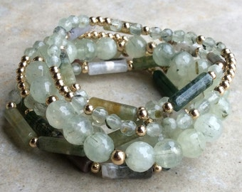 Prehnite and fancy jasper stretchy bracelet set of 7