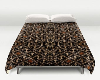 African Art Duvet Cover - Featuring Exclusive Kuba Cloth Design / Brushed Polyester Fabric / Stunning, Stylish & Unique