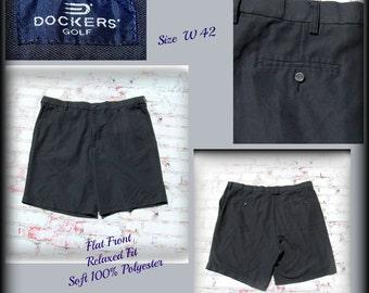 golf shorts, 80's men's shorts, golf wear, men's black shorts,men's dress shorts,  Size 42,    # 87