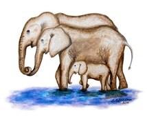 Elephant Art, Jungle Nursery Print, Baby Room Decor, Elephant Nursery, Art Print, Safari Nursery, Elephant Family, Baby Girl, Boy, Grey