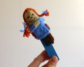 Pippi Longstocking, Fairy Tale & Fantasy Finger Puppet, hand-knit miniature doll, knit toy