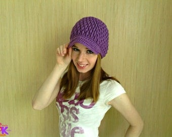 Crochet Purple Small Adult Textured Womens Fashion Newsboy Brim Winter Beanie Hat, Ready to Ship HA0023