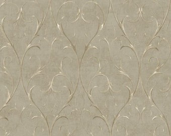 Delicate Gold Ironwork Scroll on Soft Brown - Victorian, Traditional, Euro, Italian Design, Home Decor - Wallpaper By The Yard - BD9181