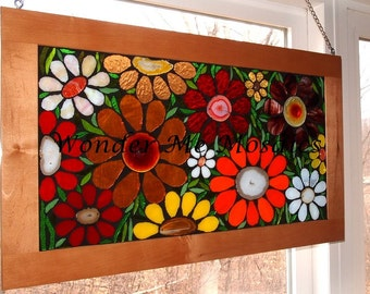 20% OFF SALE  Stained Glass Mosaic on Glass - Large Garden of Flowers