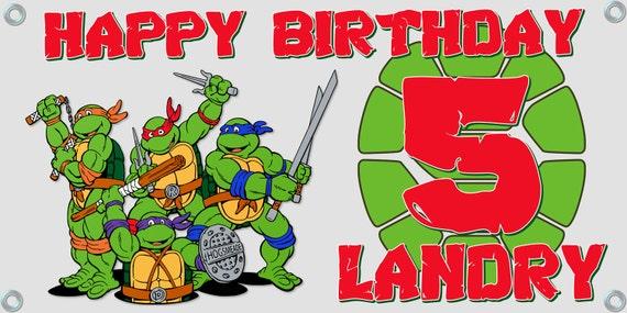 Personalized birthday banner ~ 4 FT x 2 FT ~ TMNT Teenage Mutant Ninja Turtles ~ Decoration