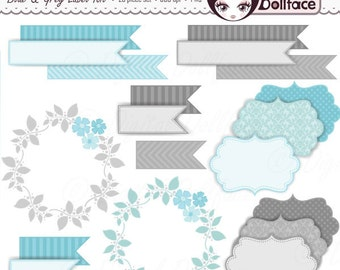 Printable Light Blue Labels / Tags, Digital Wreath & Flag Clipart, Wedding / Commercial Use