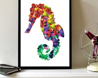 Seahorse Print Watercolor Triangles