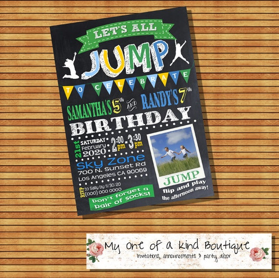 Trampoline Party Invitations: Trampoline Birthday Party Invitation Jump Bounce Invite