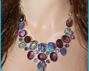 Sterling Silver Bib Necklace,AMETHYST and TITANIUM DRUZY ,Bezeled .Gorgeous!!!!!!