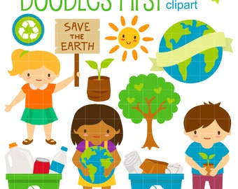Earth Day Save the Earth Digital Clip Art for Scrapbooking Card Making Cupcake Toppers Paper Crafts