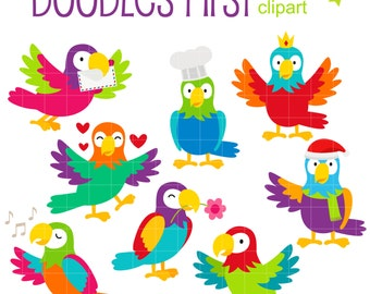 Pet Parrot Digital Clip Art for Scrapbooking Card Making Cupcake Toppers Paper Crafts