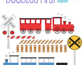 Choo Choo train Set Clip Art for Scrapbooking Card Making Cupcake Toppers Paper Crafts