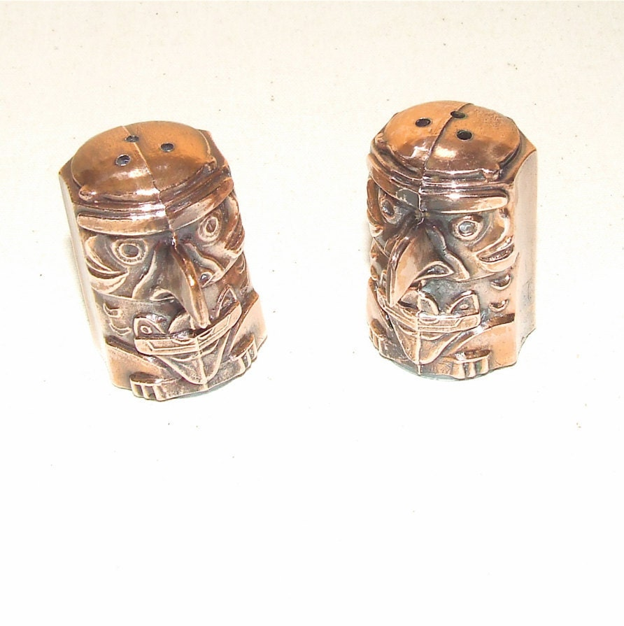 Vintage Copper Salt And Pepper Shakers Unique In By