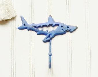 Shark Hook,Iron Shark Hook,Cast Iron Hooks,Decorative Coat Hook,Wall Hooks,Beach Decor,Shark Decor, Cast Iron Wall Hooks, Nautical Decor