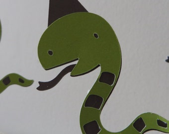 CUSTOMER FAVORITE - Snake Party Pick Cupcake Toppers - Hand Punched - Decoration, Parties, Cupcake Toppers