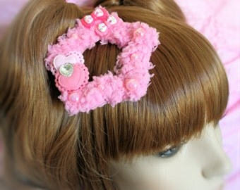 Made to Order-Pretty in Pink Fuzzy Two Way Star Clip-Fairy Kei Clip-Sweet Lolita Clip