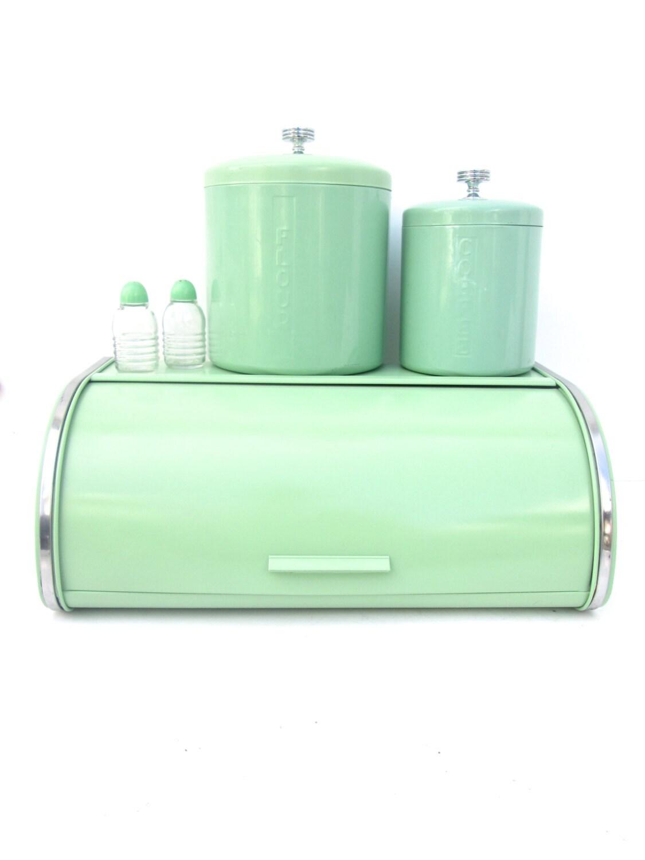 vtg retro mint jadeite green metal bread box. Black Bedroom Furniture Sets. Home Design Ideas