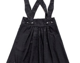 Black A line pinafore , High waisted skirt , Skirt with suspenders , Knee length skirt , Brocade skirt , Skirt pockets , Vintage inspired