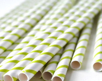 25 Lime Green Stripe White Paper Straws