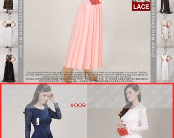 Long Sleeve Pink Lace Maxi Dress - Pink Chiffon Maxi Dress - Pink Maxi Dress - Coral Maxi Dress - White Maxi - Prom Dress - 20+ Colors CD2N