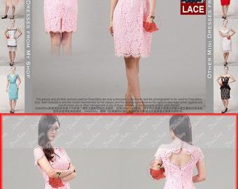 Open Back Lace Dress with Scalloped Hem and Eyelash Details - Light Pink Lace Mini Dress - Sheath Dress - Lace Bridesmaid Dress D314P