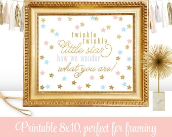 Twinkle Little Star How We Wonder What You Are - Printable Twinkle Little Star Gender Reveal Sign - Blush Pink Baby Blue Gold Glitter