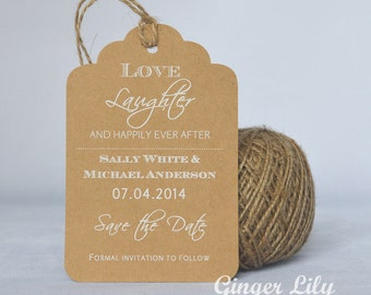 Rustic Kraft Luggage Tag Wedding Save the Date Card - White Print - Ever After Design - Jute Twine