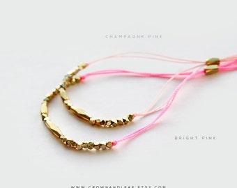 Pink / Thread Bracelet / Gold Bead Bracelet / Pink Bracelet / Bridesmaid Bracelet / Gold Delicate Bracelet / Wish Bracelet / Bead Bracelet