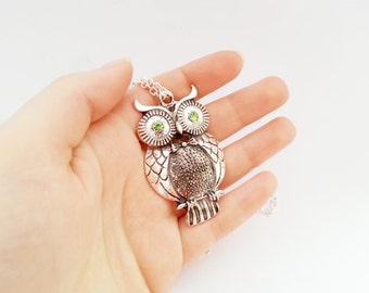 Silver long owl necklace with light green zircons silver gift for her necklace gift wrapping