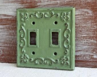 Double Light Switch Cover, Sage Green, Switch Plate, Lightswitch Plate Cover, Switchplate Cover, Cast Iron Fleur de lis, Wall Decor