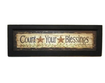 Count Your Blessings, Stars, Art Print, Primitive Sign, Country Decor, Wall Hanging, Handmade, 22X7, Custom Wood Frame, Made in the USA