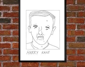 Badly Drawn Harry Kane - Tottenham Hotspur FC Football Poster