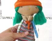 Little doll in linen /OOAk /18 cm