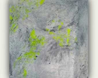 Abstract canvas yellow white grey gray painting white on white contemporary art modern wall art giclee