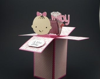 Baby Shower Card in a Box / Custom Baby Shower Card / Baby Girl Gift / Baby Shower Invitation