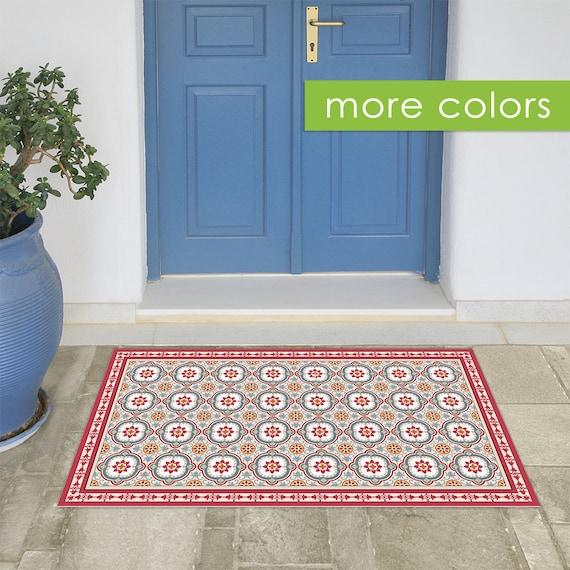 spanische fliesen muster gedruckt auf pvc teppich rot von. Black Bedroom Furniture Sets. Home Design Ideas