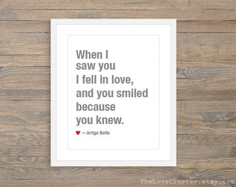 When I Saw You I Fell In Love Art Print  -  Love Poster  - Typography Wall Art - Slate Grey and Red - Love Art Gift