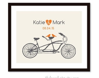 Bicycle art Print - Wedding Personalized Love Poster- Tandem Bike and birds - Wall Art - Grey and Orange