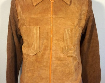 FREE  SHIPPING   1970's Suede Sweater Jacket