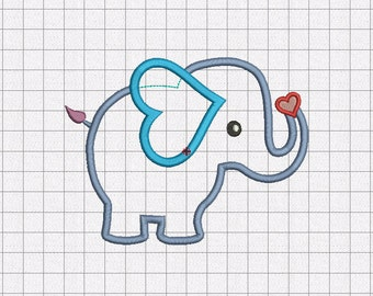 Heart Elephant Applique Embroidery Design in 3x3 4x4 5x5 and 6x6 Sizes
