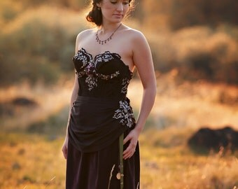 Black and Purple Victorian Wedding Gown, Black Lace Gown, Purple Velveteen Gown, Alternative Wedding Gown, Romantic Reception Gown