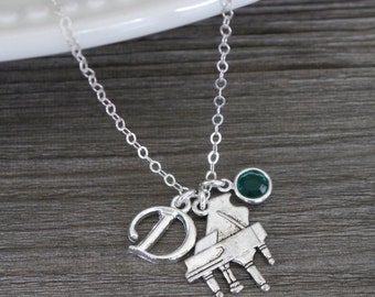 Piano Necklace, Silver Piano Necklace, Piano Player Gifts, Personalized Piano Necklace, Letter D, May Emerald, Pianist Necklace, Custom