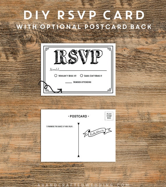 DIY Black RSVP Card Templates by AHandCraftedWedding