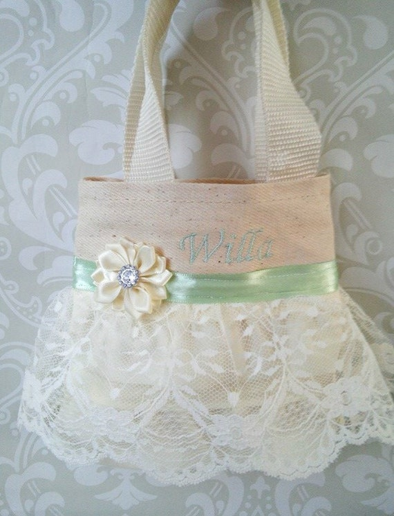 Mint and Ivory Lace Flower Girl Purse, Flower Girl Gift, Birthday Gift ...