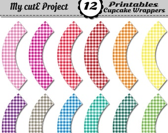 GINGHAM Cupcake Wrappers Rainbow - Instant Download - Candy bar decoration - Printable