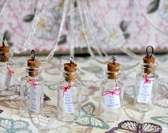 Message in a bottle necklace, tiny message, bottle charm, vial necklace, tiny glass bottle