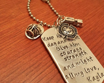 Hand stamped dog tag necklace police/fireman necklace for men or women. Keep him safe day and night-Fireman gift-Firefighter gift