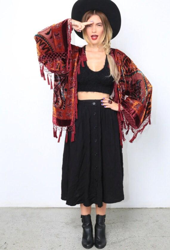 Velvet Beaded Fringe Kimono | Morroccan