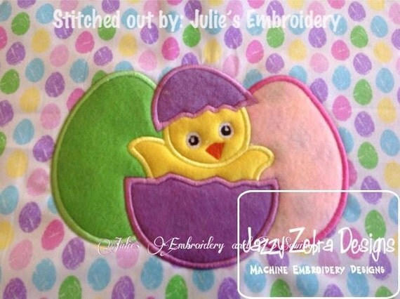 Easter Chick with Eggs Appliqué embroidery Design - Easter appliqué design - chick appliqué design