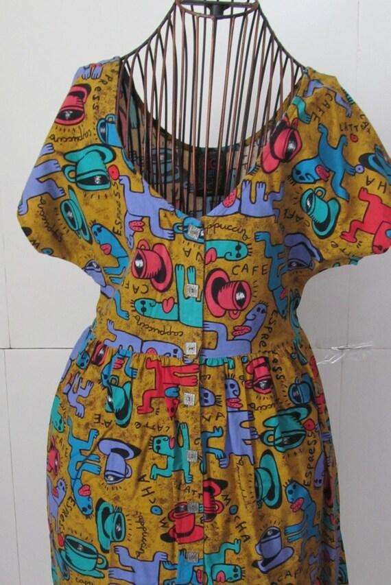 90s Summer Dress Java Espresso Cafe Print Big Hed Designs